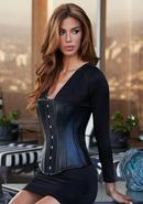 Essential Satin And Leather Corset Blk S