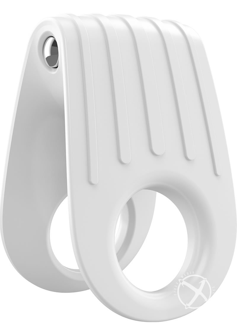 Ovo B12 Silicone Cock Ring Waterproof White And Chrome