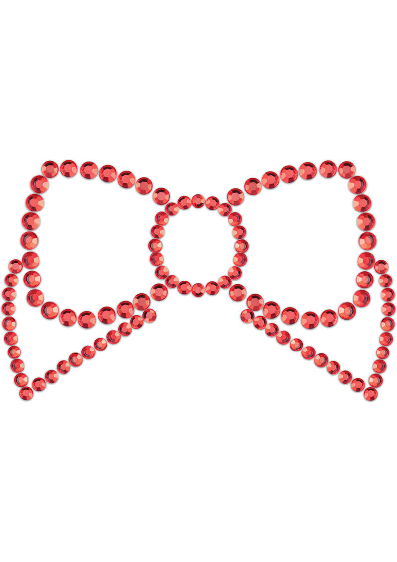 Bijoux Indiscrets Body Decorations Mimi Rhinestone Pasties Bow Red 2 Each Per Pack