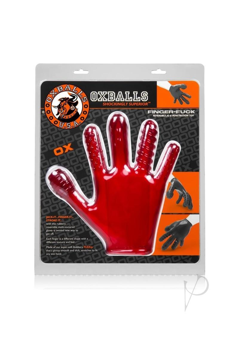 Finger Fuck Textured Glove Flex Red
