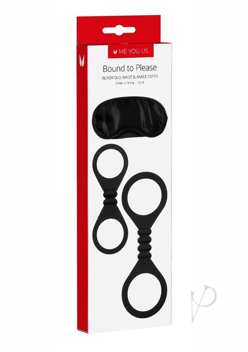 Bound To Please Blindfold, Wrist And Ankle Cuffs Silicone Black