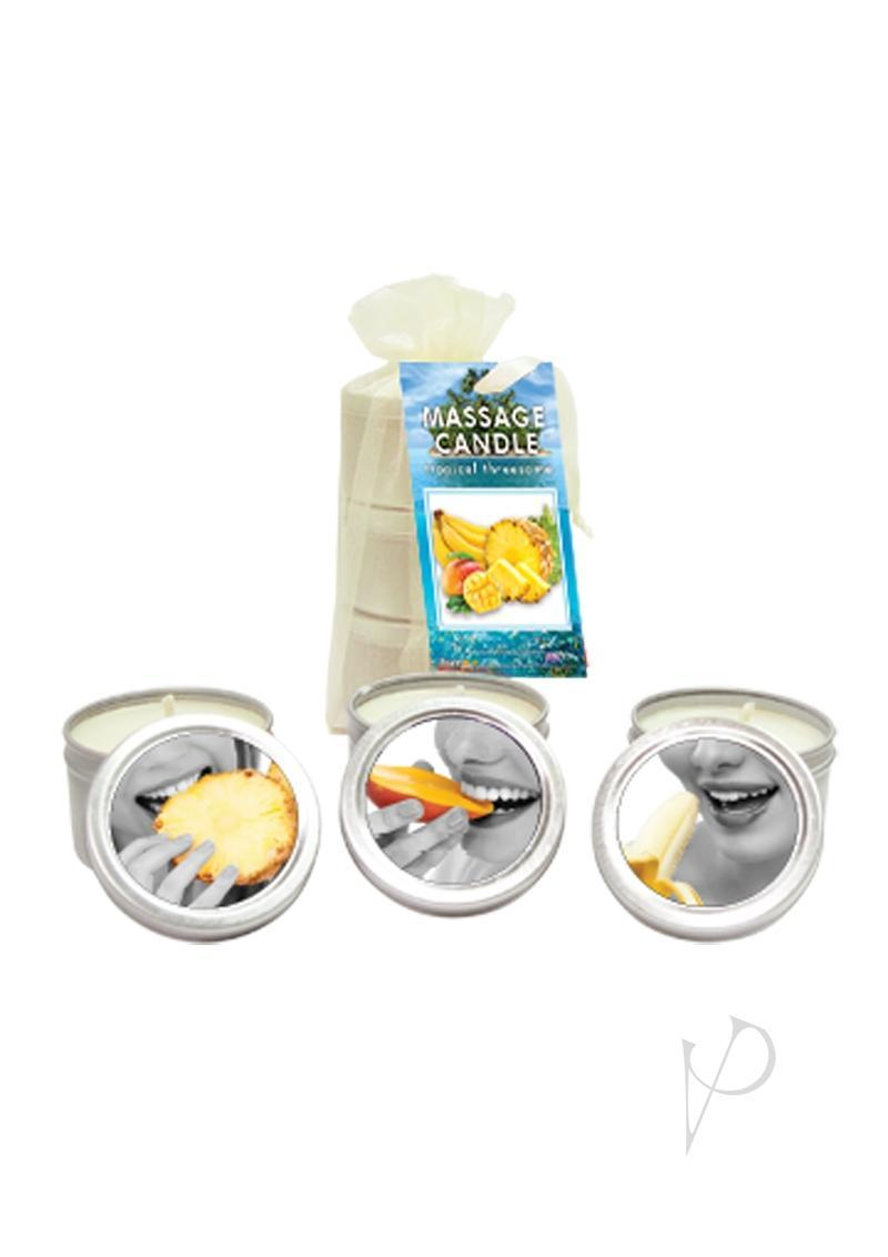 Tropical Threesome Massge Candle Set Pinapple, Bananna And Mango 2 Ounces Each